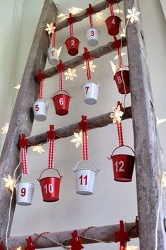 Christmas DIY: Illustration Description Advent Calendar on a Vintage Ladder For Christmas Christmas Countdown, Christmas Calendar, Noel Christmas, Diy Christmas Gifts, Christmas Projects, All Things Christmas, Nordic Christmas, Modern Christmas, Christmas Stockings