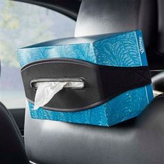 A headrest car tissue box holder made from stretch black neoprene that wraps around standard sized tissue boxes. Part of a large assortment of car interior accessories from High Road automotive. Tissue Box Holder, Tissue Boxes, Car Fix, Car Interior Accessories, Artwork For Home, Car Hacks, Boxer, Take That, Band