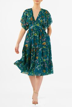 Tropical floral print georgette tiered dress a137a49b2333