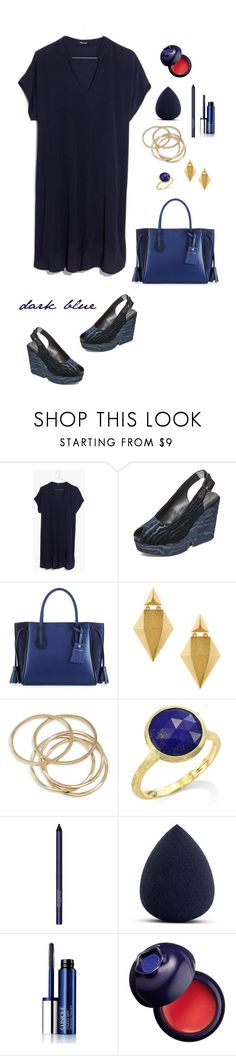 """Dark Blue"" by musicfriend1 on Polyvore featuring Madewell, Robert Clergerie, Longchamp, Stephanie Kantis, ABS by Allen Schwartz, Marco Bicego, Smashbox, Clinique and Charlotte Russe"