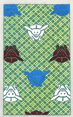 Design - Textile - Japanese - with rabbits    Japanese textile design. Green squares with bunnies. .