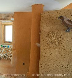 A straw bale and cordwood passive solar home.