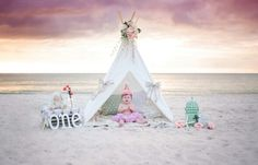 Beach cake smash by London Pyle Photography. Marco island, Naples florida, sunset, one year old