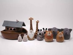 Items similar to Noah's Ark Set - Wheel Thrown Stoneware Figurines - Made in Maine by Caryn Burwood at Purple Moose Emporium on Etsy Pottery Animals, Ceramic Animals, Maine, Funny Design, Stoneware, Polymer Clay, Elephant, Concept, Purple