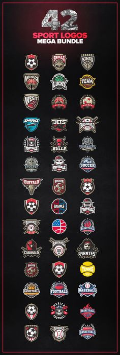 42 Sport logos MEGA BUNDLE by zerographics.ru on Creative Market