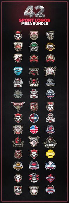 Logo Templates Product Images ~ 42 Sport logos M… ~ Creative Market Inspiration Logo Design, Icon Design, Design Ideas, Sport Inspiration, Photoshop, Design Studio Names, Sports Team Logos, Badge Logo, Typography Logo