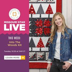 On this Missouri Star LIVE, Misty debuts her first quilt kit and shows you how she makes a block smaller - she'll be converting one of the blocks in the kit to a smaller size for her quilt label. Click the link below to learn how to do some quick quilt math to shrink your blocks! #MissouriStarQuiltCo #MSQC #MissouriStarLive #MistyDoan #IntoTheWoodsQuilt #QuiltLabel #MugRug #Quilt #Quilting #Sewing