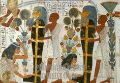 Tomb chapel of Nebamun wall painting . Scene of water offerings to mummy of the tomb . Late 18th Dynasty , around 1350 BC , Thebes , Egypt . Nebamun : Ancient Egyptian scribe and grain accountant in the Temple of Amun , Karnak . Courtesy of the British Museum , London , UK