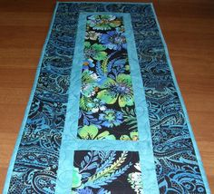 Quilted Table Runner Black and Blue Paisley Lime by HollysHutch