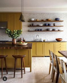 All low India yellow cupboards matched with all white floor to ceiling utility/ . - All low India yellow cupboards matched with all white floor to ceiling utility/ storage on op wall? Home Decor Kitchen, Kitchen Interior, New Kitchen, Home Kitchens, Kitchen Decorations, Modern Kitchens, Rustic Kitchen, Kitchen Ideas, Interior Livingroom