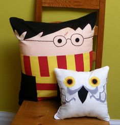 Boy Wizard and owl pillows