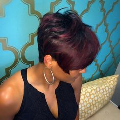 short black hairstyle with burgundy balayage