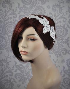 Bridal Headband  white lace wedding headband  by januaryrosebridal,