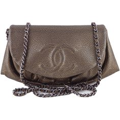 Pre-Owned Chanel Bronze Caviar Half Moon WOC Wallet Chain Purse Bag (7.685 BRL) ❤ liked on Polyvore featuring bags, handbags, bronze, crossbody purse, grey handbags, evening handbags, gray purse and chain strap purse