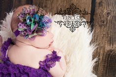 Purple Peacock Chiffon Lotus Flower Baby Headband From Kemaily