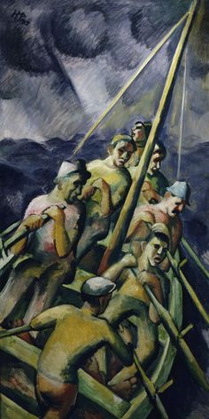 Hermann Max Pechstein (German, 1881 – 1955)   Fishing boat (Fischerboot), 1913  Oil on canvas, 190 x 96 cm  Brücke-Museum Berlin, Germany