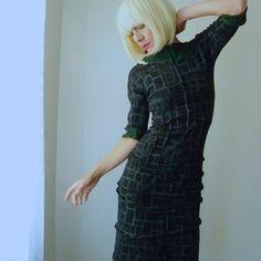Womens Handmade Dress, Hand Printed Jersey Black Green Contrast Dress,  Geometric Squares Print, Half Fitted Sleeves, Retro Futuristic