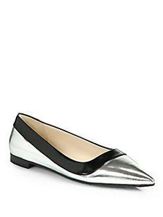 Prada - Metallic Leather Point-Toe Ballet Flats