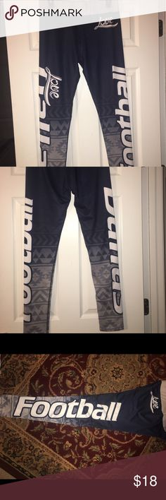 """Dallas Cowboy """"Love Football"""" leggings NWOT XLusion Dallas Cowboys """"Love Football"""" custom made leggings!! NWOT - Super sharp looking and comfortable!  88% Polyester 12% Spandex - Waist 30 inches, inseam 28 inches. XLusion Clothing Pants Leggings"""