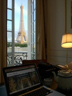 Daniel working in front of the Eiffel Tower - at Shangri-La Hotel Paris