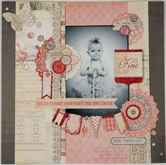 Love this elegant, sweet and sophisticated layout using the Lost & Found 3 Ruby MME collection. Designer: Tiffany Hood