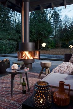 round patio wood stove with comfortable seating area