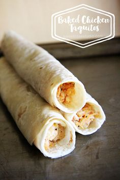 A simple recipe for baked chicken taquitos that is a real crowd pleaser!: