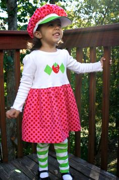*SUCCESS*  strawberry shortcake dress, hat, leggings (I made a separate bubble skirt, embellished a plain T-shirt, leggings and hat!)
