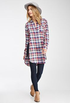 Plaid High-Slit Longline Shirt | FOREVER21 - 2000097954