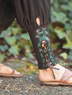 Tribal Yoga Harem Pant with lace up applique - Yoga Wear - Harem Pants Kurti Sleeves Design, Sleeves Designs For Dresses, Kurti Neck Designs, Dress Neck Designs, Stylish Dress Designs, Kurti Designs Party Wear, Salwar Designs, Yoga Harem Pants, Salwar Pants