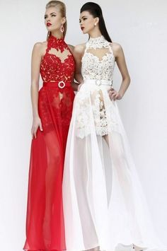 Lace high neck evening dress