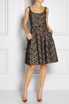 Oscar de la Renta|Appliquéd lace and Orylag-blend dress  $2,890