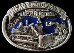 BULLDOZER HEAVY EQUIPMENT OPERATOR PEWTER BELT BUCKLE