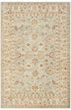 $5 Off when you share! Safavieh Antiquity AT822 Grey Blue Beige Rug | Traditional Rugs #RugsUSA