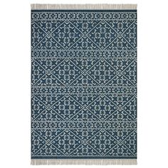 Tapis tiss& & plat motif kilim en laine, Markus AM. Bleu Indigo, The Way Home, Modern Boho, Cool Rugs, Rug Making, Oriental Rug, Decoration, Kilim Rugs, Hand Weaving