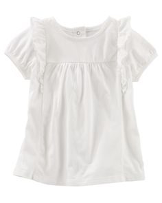 You can never go wrong with a ruffle tee! Made of soft cotton jersey, this piece is a great addition to her spring wardrobe.