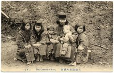 """The big Ainu family from """"The Customs of Ainu"""" series, ca.1910"""