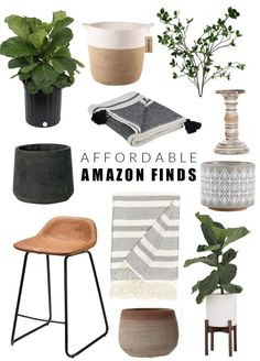 Affordable and neutral modern farmhouse decor from Amazon! #budgetdecor #amazon #amazonfinds #modernfarmhouse #modernfarmhousedecor #neutraldecor #affordabledecor #springdecor #planters #fiddleleaf