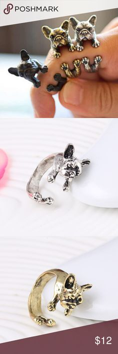 NWT Cute Puppy Rings These brand new adorable puppy rings come in a set of three: one silver, one gold and one black. They make the perfect gift! Jewelry Rings