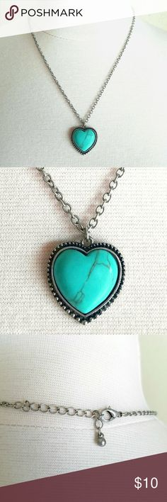 """Turquoise & Silver Heart Pendant Boho Necklace Faux turquoise heart pendant with antique look edging and raw, unfinished metal chain in silver color. Chain length (end to end)- adjustable 18.25""""-20"""", Pendant- 7/8"""" x 7/8"""" . EXCELLENT used condition. Jewelry Necklaces"""