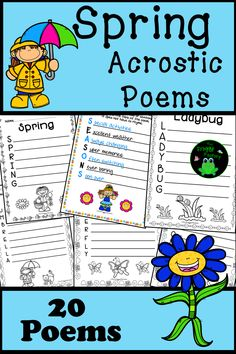 These 20 acrostic poems are the perfect activity for students to practice their poetry skills and have fun writing about Spring themes.These poetry worksheets are great for independent work, interactive notebooks, group work, literacy stations, and partner work. #teacherspayteachers #tpt #language #teachersfollowteachers #languagearts #poetry