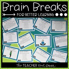 This set of 100 Brain Breaks task cards are filled with over 250 active games, exercises, and creative movement to help your kids regain focus after periods of sitting. These activities are not only fun but beneficial for learning. Studies have shown that brain breaks activate the mind, reduce behavior