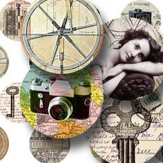 This two in one collage sheet combines 20 steampunk images (on left) with 20 world traveler circles (cameras on right) for the price of one collage sheet. #printables by piddix