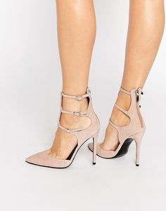 Kendall & Kylie Alisha Nude Suede Caged Pointed Pumps by KENDALL + KYLIE. Heels by Kendall Kylie, Suede upper, Zipped heel, Pin buckle straps, Point toe, High heel, Treat with a leather prote...