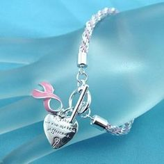 Pink Ribbon Breast Cancer Awareness Charm Bracelet,	$4.75