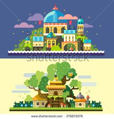 Fantastic landscape: magic castle at night, sea, starry sky, clouds, tree house, stone house with thatched roof in forest glade. Vector flat illustrations and backgrounds - stock vector