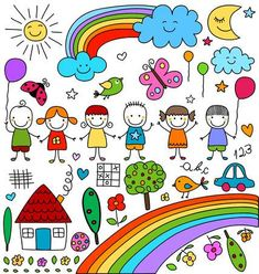 Child like drawings set Easy Doodles Drawings, Simple Doodles, Cute Drawings, Drawing For Kids, Art For Kids, Cute Wallpaper Backgrounds, Cute Wallpapers, Color Wheel Projects, Colors For Toddlers