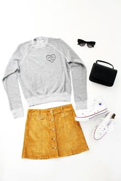 Le Fashion Easy Outfits Looks Summer To Fall Transition Style Embroidered Sweatshirt Mini Bag Sunglasses Button Front Corduroy Skirt Converse Sneakers