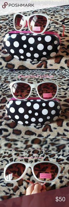 "🎉HP🎉BETSEY JOHNSON Cream Pink CAT EYE Sunglasses 🎉HOST PICK 🎉 ""Tropical Getaway"" Posh Party 6/24/2017. BRAND NEW WITH TAGS! These fun and trendy shades from Betsey Johnson are to die for❤ Cat eye style sunnies with cream white/ivory frame and blush pink arms. Iconic Betsey Johnson heart on left arm. 100% UV Protection. Come with a free polka dot fashion case 😀 Betsey Johnson Accessories Sunglasses"