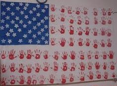 Handprint Flag - adorable! Potential hall bulletin board idea.  Maybe even year long bulletin board above the kinder. benches. @Vicki Curtis